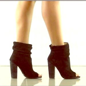 Chinese Laundry black suede peep toe booties